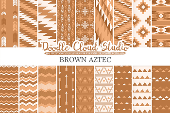 Brown Aztec digital paper, Tribal patterns, native,  triangles, geometric.