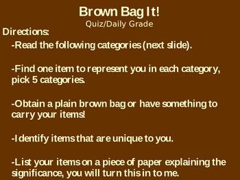 Brown Bag It!  New school year activity