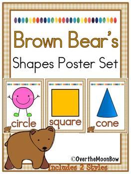 Brown Bear   2D & 3D Shapes Poster Set