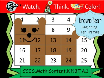 Brown Bear Beginning Ten Frames - Watch, Think, Color Mystery Pictures