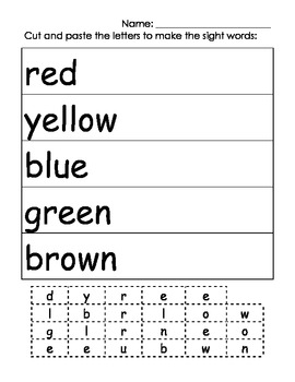 Brown Bear Brown Bear Color Sight Word Practice