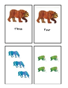 Brown Bear Brown Bear Number Word and Count Match Ups / Memory Game #1-10