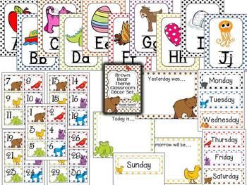 Brown Bear, Brown Bear Theme Classroom Decor Set
