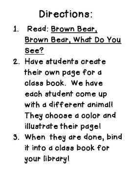 Brown Bear, Brown Bear, What Do You See? Class Book Writing Activity