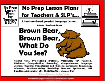 Interactive Guided Reading Lesson Plan-Daily or Weekly-Brown Bear, Brown Bear  :
