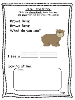 """""""Brown Bear, Brown Bear, What Do You See?"""" Activities"""