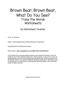 Brown Bear, Brown Bear, What Do You See? Trace the Words Worksheets