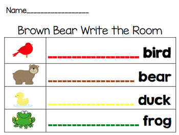 Brown Bear, Brown Bear Write the room