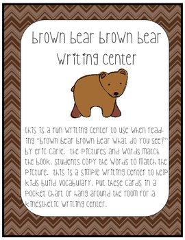 Brown Bear, Brown Bear writing center