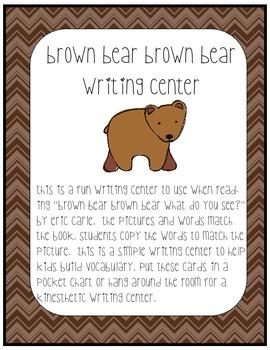 Brown Bear, Brown Bear writing center