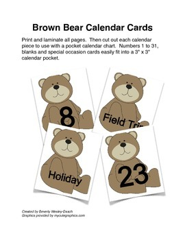 Brown Bear Calendar Cards