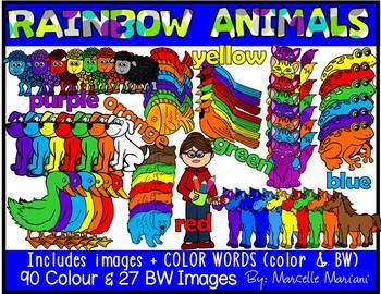 RAINBOW ANIMALS Clip art- Animals clip art graphics