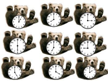 Brown Bear Clocks to Hour and Half Hour