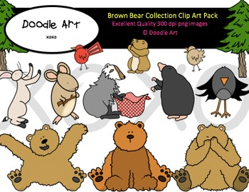 Brown Bear Collection Clipart Pack