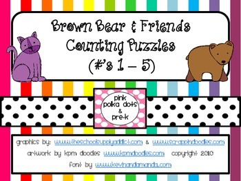 Brown Bear Counting Puzzles ~ Numbers 1 - 5