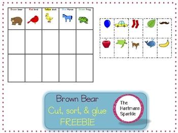 Brown Bear Cut, Sort, & Glue Freebie