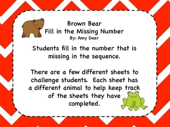 Brown Bear Fill in the Missing Number