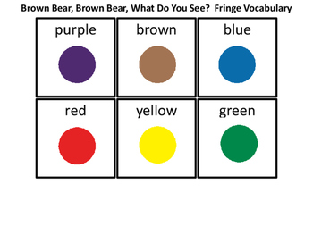 Brown Bear Fringe Vocabulary