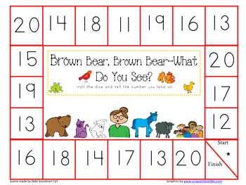 Brown Bear Game board Set--0-10, 11-20, number words and color words