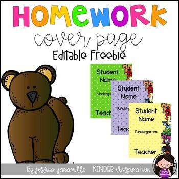 Brown Bear Editable Homework Folder Covers