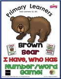 Number Words and Numerals - Brown Bear - I Have Who Has Numbers Game