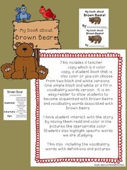 Brown Bear Informational Emergent/Interactive Reader