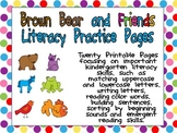 Brown Bear Literacy Practice Pages Kindergarten- color words and much more