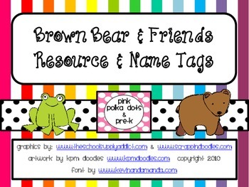 Brown Bear Name & Desktop Resource Plates (ABC, Colors,  Numbers)