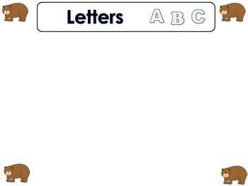 Brown Bear Numbers and Letters Sort Daily Five Word Work or Math Center Activity