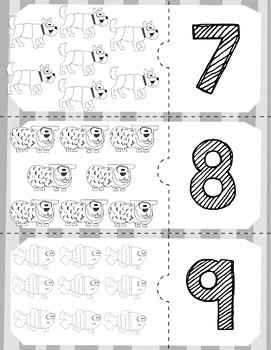 Brown Bear Quantity Puzzles Black & White | Numbers 0-10