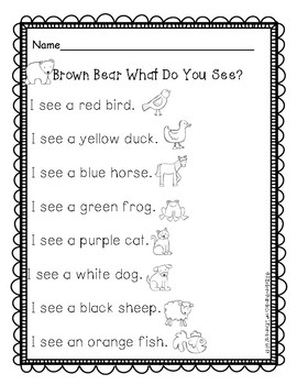 Brown Bear-Reading Sheet