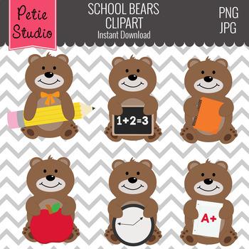 Brown Bear School Clipart, School Supplies, Back to School Clipart - Animals112