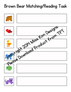 Brown Bear Sight Word Reading Folder Game for Early Childhood Special Education
