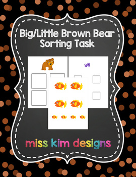 Brown Bear Size Sorting Folder Game for Early Childhood Sp