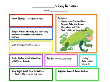 Brown Bear Toddler/Preschool Planner