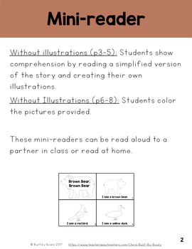 Brown Bear: Two mini-readers (with and without illustrations)