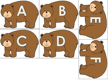 Brown Bear Upper and Lowercase Letter Matching Activity