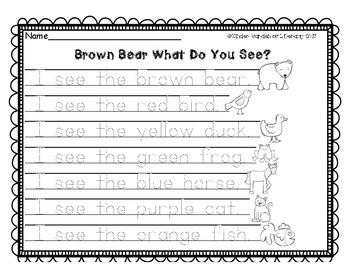 Writing Brown Bear Sentence Starters