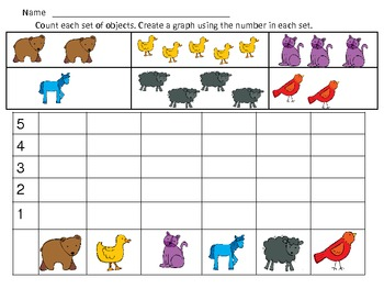 Brown Bear and Friends Graphing Practice for Kindergarten