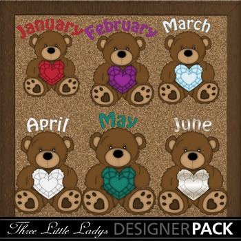 Brown Birthstone Bears with months