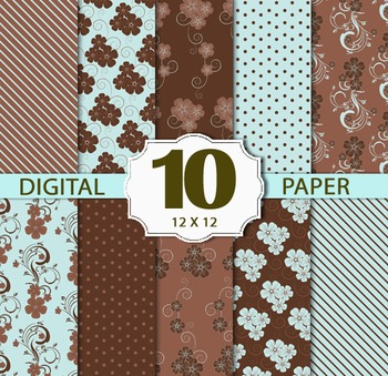 Brown & Blue Digital Paper Pack, flower Stripe Digital Background