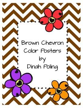 Brown Chevron Color Posters