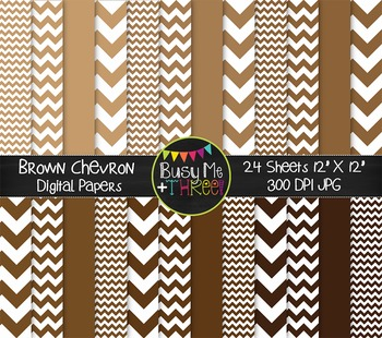 Brown Chevron Digital Papers {Commercial Use Digital Graphics}