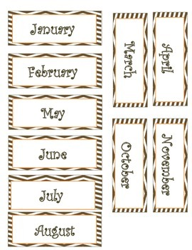 Brown Chevron Months of the Year