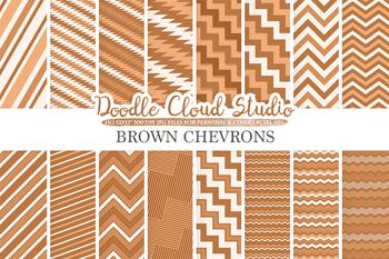 Brown Chevron digital paper, Chevron and Stripes  pattern, tribal chevron