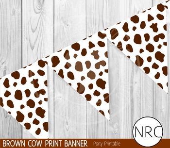 Brown Cow Print Banner - Party Printable