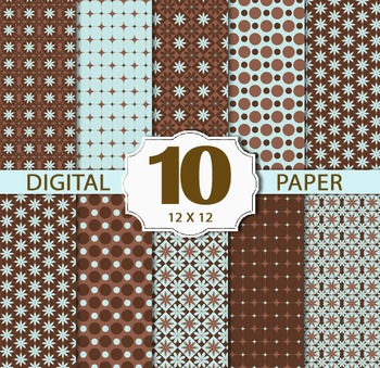Brown Digital Paper Pack, Floral&Polkadot Stripe Digital Paper