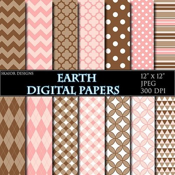 Brown Digital Papers Pink Papers Geometric Scrapbooking Printable Papers