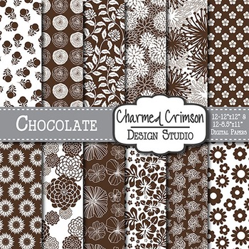 Chocolate Brown Floral Digital Paper 1481
