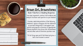 Brown Girl, Brownstones Novel Study: NO PREP Lesson Plans & Handouts (170 Pages)